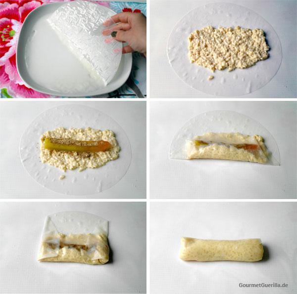Sushi Milchreis wie füllt man die Rolle