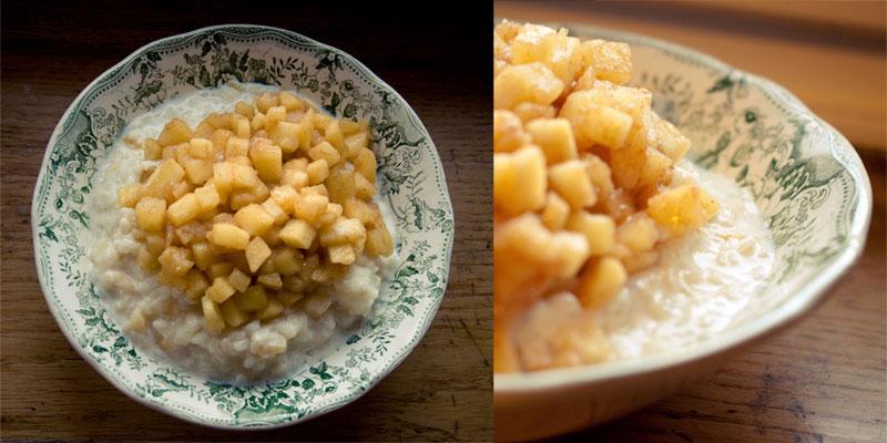 Zwei Fotos von Milchreis mit Apfelkompott und Zimtpulver